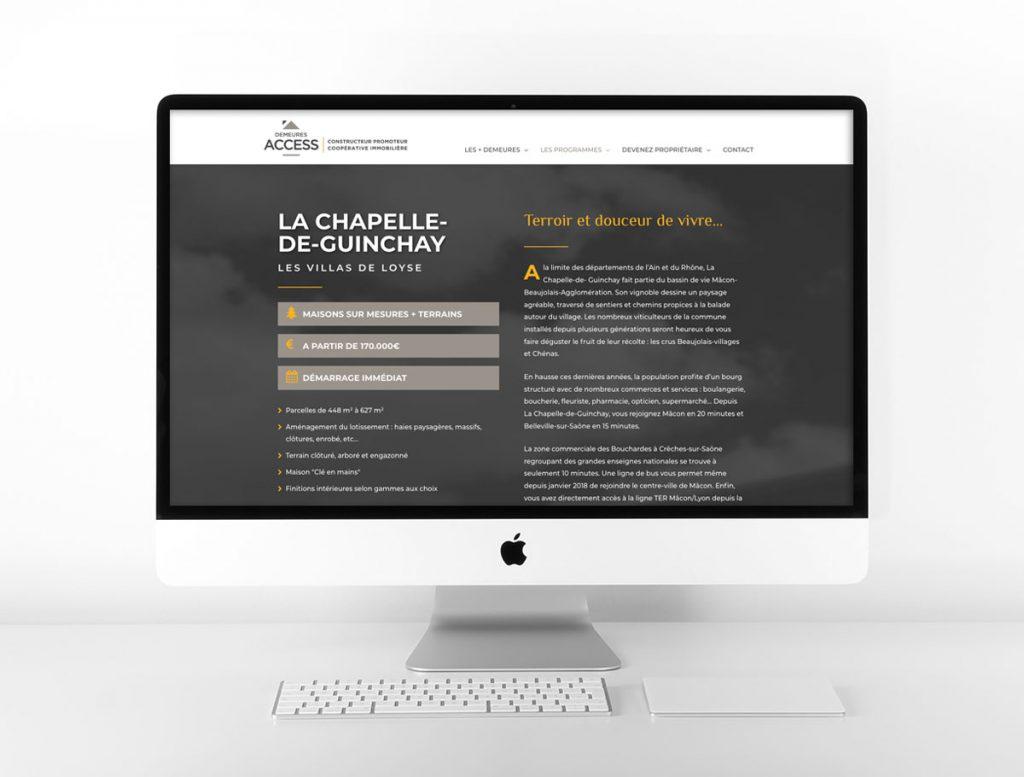 Page projet site web Demeures Access